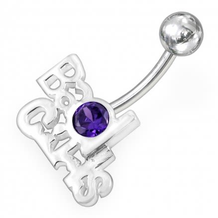 Jewelled BAD GIRLS Eye Non-Moving  Belly Ring