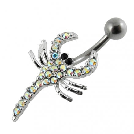 Jeweled Scorpio Non-Moving Belly Ring