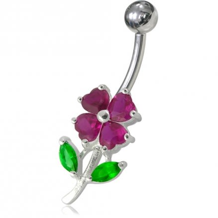 Jeweled Flower Leaf Non-Moving Belly Ring