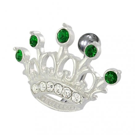 Jeweled Crown Non-Moving Belly Ring