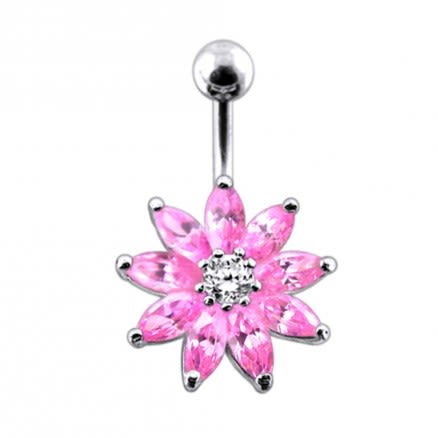 Jeweled Flower Non-Moving Belly Ring Body Jewelry