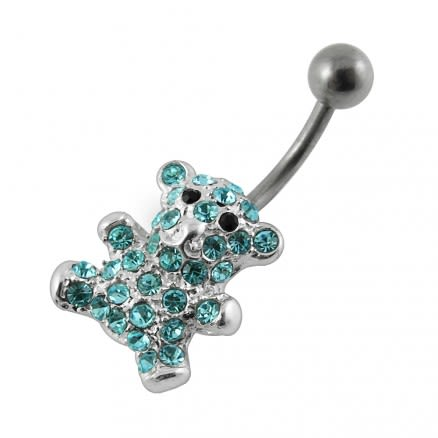 Jeweled Bear Non-Moving Belly Ring