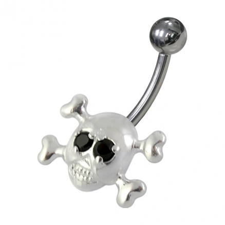 Skull Shaped Jewelled Non-Moving  Belly Ring