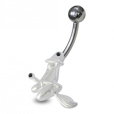 Witch Angel Shaped Jeweled Non-Moving Belly Ring