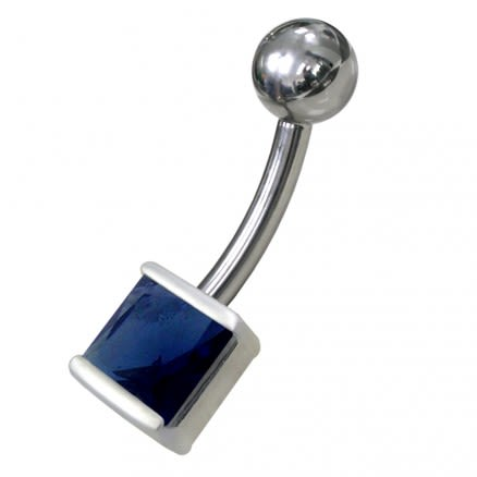 Silver Jeweled Non Moving Belly Ring