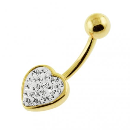 14G 10mm Yellow Gold Plated Sterling Silver Clear Jeweled Heart Shape Belly Bar