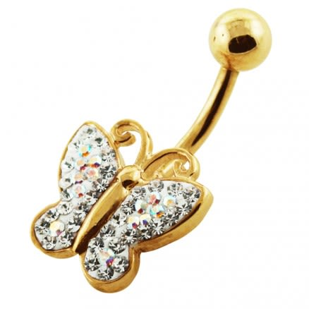 14G 10mm Yellow Gold Plated Silver Clear Jeweled Butterfly Shaped Belly Bar