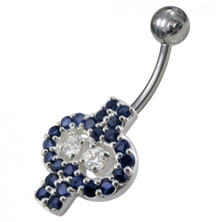 Fancy Green And White Jeweled Non-Moving Banana Bar Navel Ring