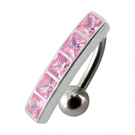 Fancy Jeweled Non-Moving Belly Ring Reverse Body Jewelry PBN0904