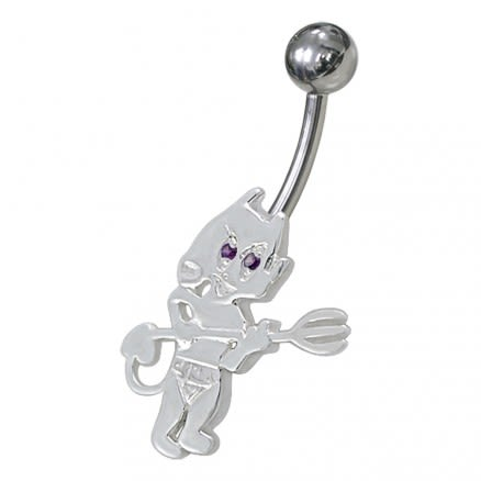 Jeweled Little Devil Non-Moving Belly Ring