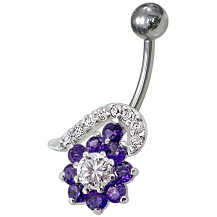 Fancy Black And White Jeweled Non-Moving Navel Body Jewelry Ring