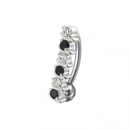 Fancy Red Jeweled Silver Non-Moving Titanium Bar Belly Ring