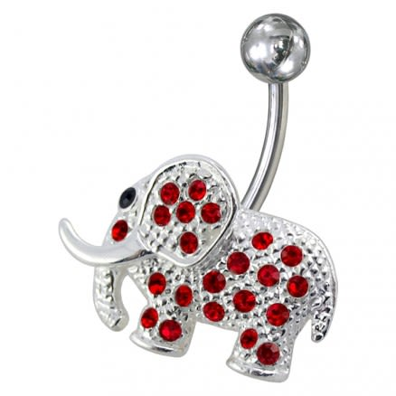 Fancy Jeweled Elephant Non-Moving Belly Ring