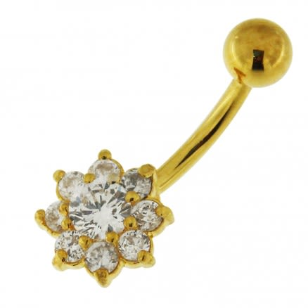14G 10mm Yellow Gold Plated Silver Clear Jeweled Flower Non-Dangling Belly Bar
