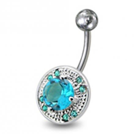 Fancy Mix Stones Jeweled Vinatge Design Non-Moving Curved Bar Belly Ring