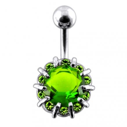 Fancy Single Stone Jeweled Non-Moving Titanium Curved Bar Belly Ring