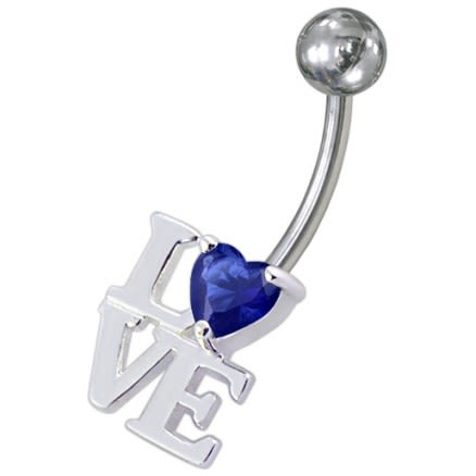 Fancy Jeweled Love Non-Moving Belly Ring