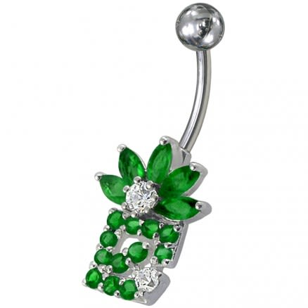 Fancy Multi Color Zirconia Jeweled Flower Non-Moving Belly Navel Ring