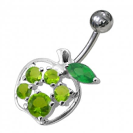 Fancy Jeweled Apple Non-Moving Belly Ring