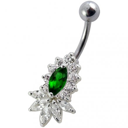 14 Gauge Fancy Jeweled Non-Moving Banana Bar Navel Belly Ring