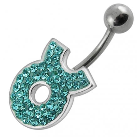 Fancy White CZ Jeweled Silver Non-Moving SS Banana Bar Belly Button Ring