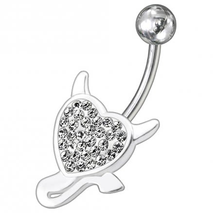 Fancy Silver Pink Stone Heart Jeweled With Titanium Curved Bar Non-Moving Belly Ring