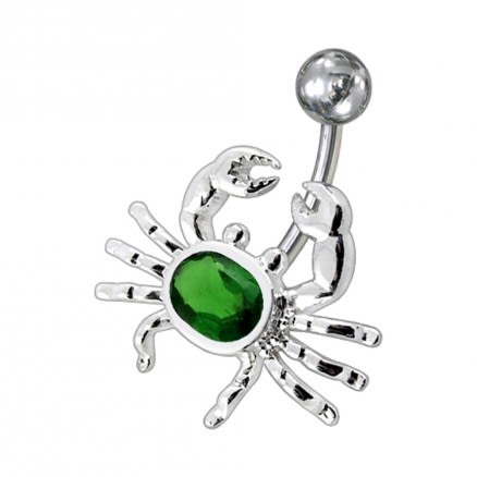 Fancy Jeweled Crab Non-Moving Belly Ring