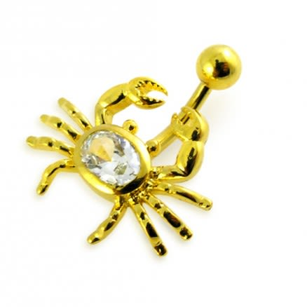 14G 10mm Yellow Gold Plated Sterlin Silver Clear Jewel Crab NonMoving Belly Bar