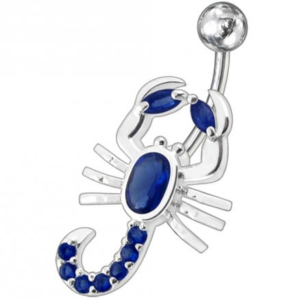 Fancy Red Jeweled Non-Moving scorpion SS Bar Navel Belly Ring