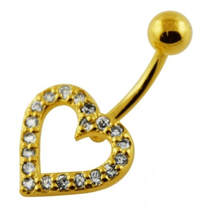 14G 10mm Yellow Gold Plated Sterling Silver Clear Jeweled Fancy Heart Belly Bar