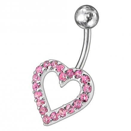 Fancy Pink Heart Jeweled  Non-Moving Titanium Bar Belly Ring