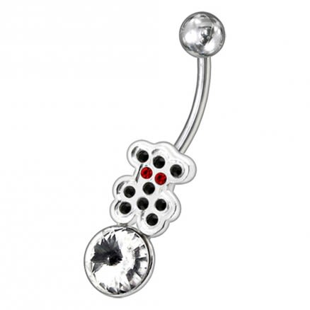 Fancy Jeweled Non-Moving SS Or Titanium Curved Navel Belly Ring