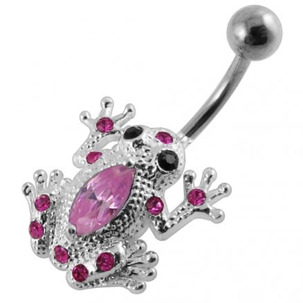 Fancy Pink Jeweled Silver Frog Non-Moving Navel Body Ring