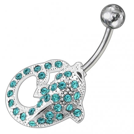 Fancy Jeweled Dolphin Non-Moving Belly Ring