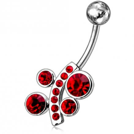 Fancy Jeweled Non-Moving Flower Belly Ring