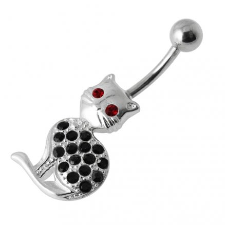 Fancy Jeweled Cat Belly Ring