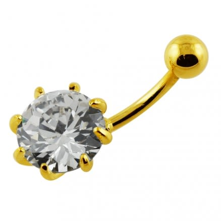 14G 10mm Yellow Gold Plated Sterlin Silver Clear Jeweled Fancy Single Belly Bar