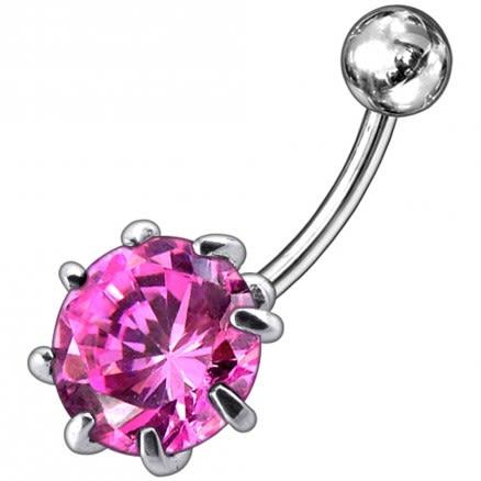 Fancy Single Jeweled Silver Belly Ring