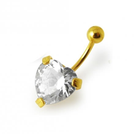 14G 10mm Yellow Gold Plated Sterlin Silver Clear Jeweled Heart Banana Belly Bar
