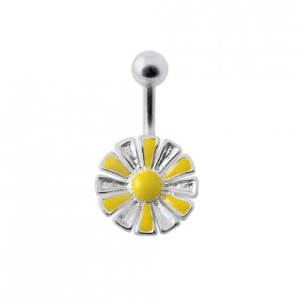 Flower Silver Belly Ring