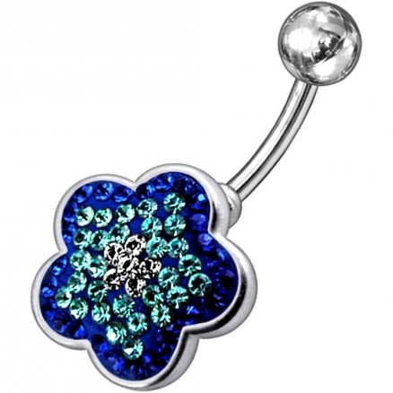 Fancy Jeweled Flower Silver Navel Belly Ring