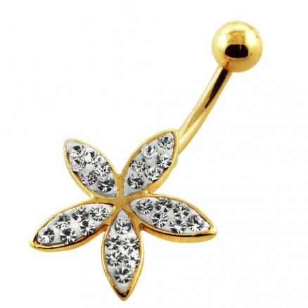 14G 10mm Yellow Gold Plated Sterling Silver Clear Jewel Fancy Flower Navel Bar