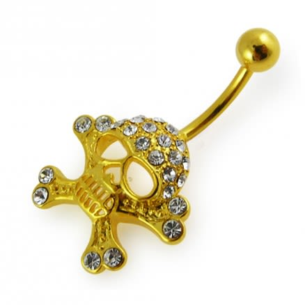 14G 10mm Yellow Gold Plated Sterling Silver Clear Jeweled Fancy Skull Navel Bar