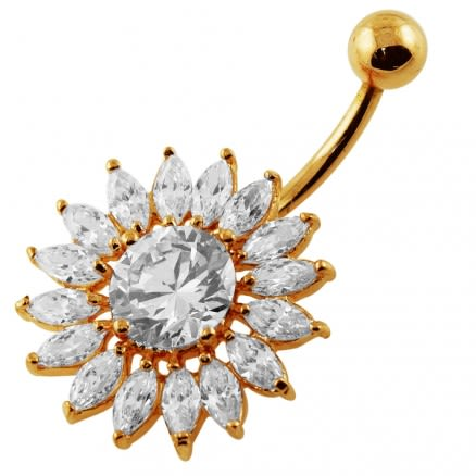 14G 10mm Yellow Gold Plated Sterling Silver Clear Jeweled Sunflower Navel Bar