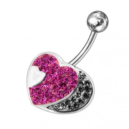 Fancy Jeweled Half Heart Silver Belly Ring