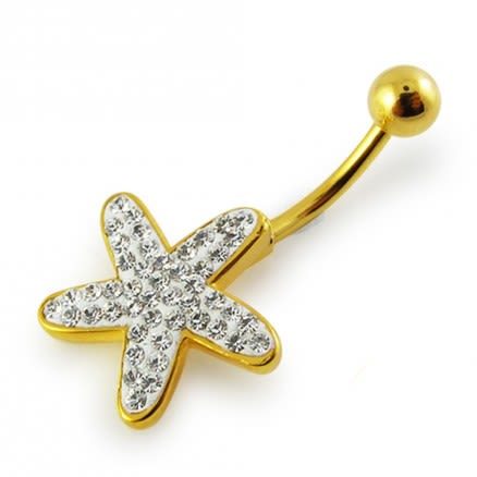 14G 10mm Yellow Gold Plated Sterling Silver Clear Jeweled Star-fish Navel Bar