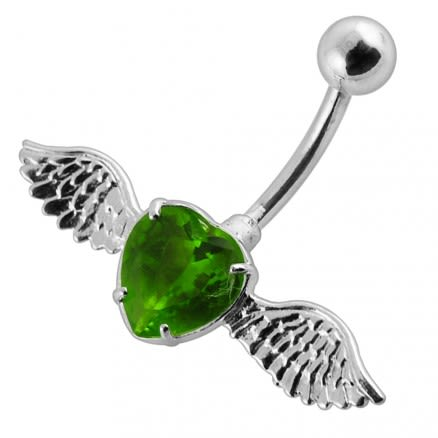 Fancy Jeweled Silver Angle Heart With 316L SS  Belly Ring