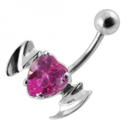 Silver Fancy Black CZ Jeweled Flying Devil Heart  With Curved Bar Belly Ring