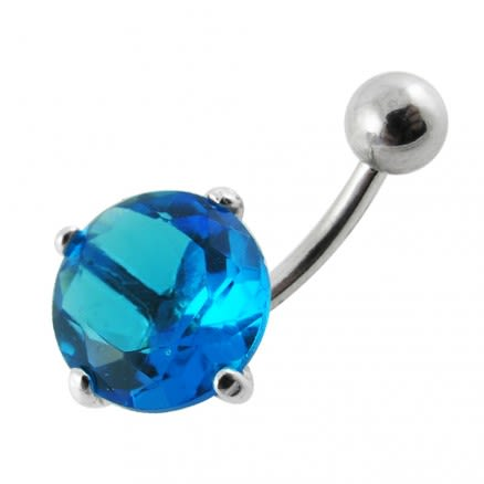 925 Sterling Silver Fancy Stone Jeweled  316L SS Curved Belly Ring