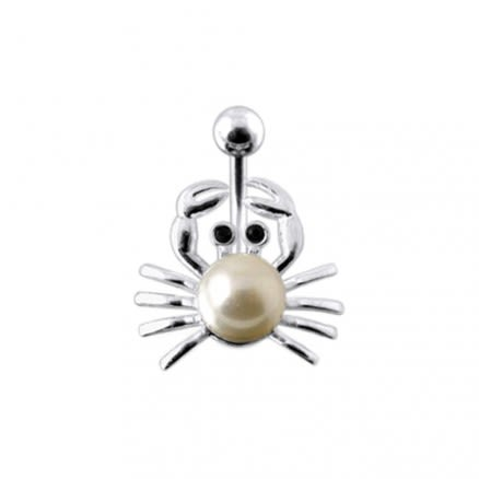 Fancy Jeweled Silver Design Pearl Studded Navel Belly Ring